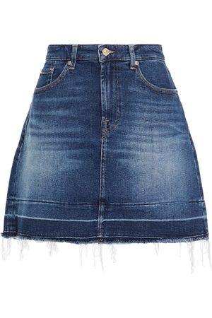 7 for all Mankind Woman Frayed Denim Mini Skirt Dark Denim Size 23