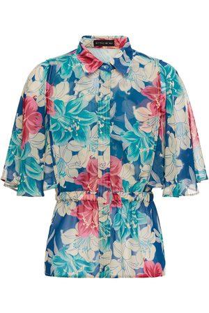 Etro Woman Gathered Floral-print Crepe De Chine Shirt Size 38