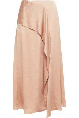 Roland Mouret Women Midi Skirts - Woman Falun Draped Hammered Silk-satin Midi Skirt Blush Size 10
