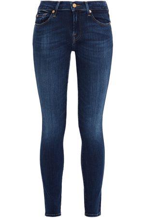 7 for all Mankind Women Skinny - Woman Crystal-embellished Mid-rise Skinny Jeans Dark Denim Size 23