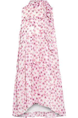 Ml Monique Lhuillier Woman Tiered Tie-neck Floral-print Fil Coupé Chiffon Mini Dress Size 10