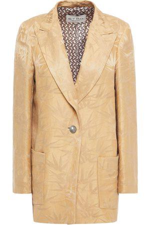 Etro Women Blazers - Woman Linen And Silk-blend Jacquard Blazer Sand Size 40
