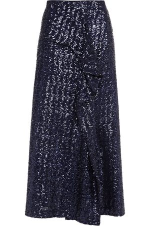 Roland Mouret Woman Lowit Ruffled Sequined Tulle Midi Skirt Navy Size 8