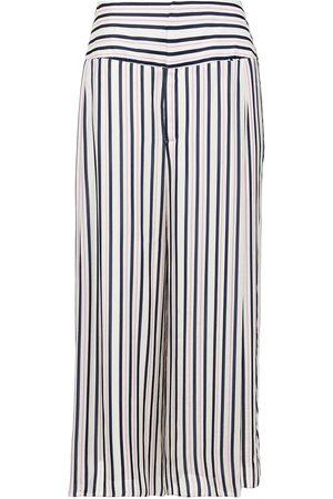 Roland Mouret Women Wide Leg Trousers - Woman Lenark Cropped Striped Gauze Wide-leg Pants Ivory Size 12