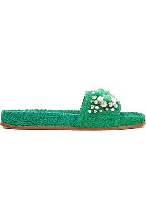 Aquazzura Woman Bon Bon Embellished Terry Slides Size 40