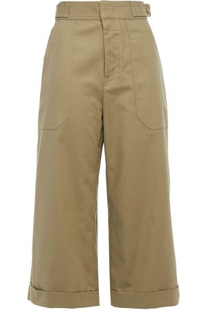 Equipment Woman Cropped Cotton-blend Twill Wide-leg Pants Army Size 10