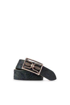 RRL Men Belts - Hand-Tooled Indigo Leather Belt