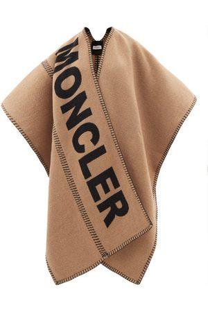 Moncler Logo-intarsia Wool-blend Shawl - Womens