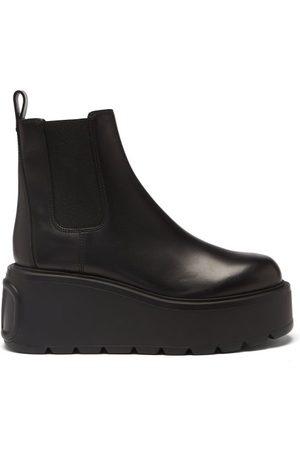 VALENTINO GARAVANI Uniqueform V-logo Leather Platform Boots - Womens