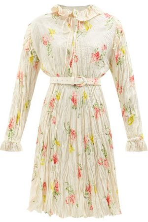 Balenciaga Floral-print Crinkled-silk Midi Dress - Womens - Multi