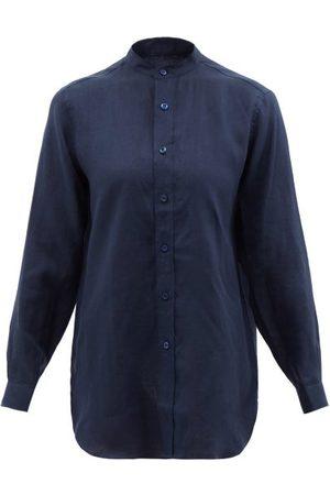 Charvet Women Shirts - Stand-collar Linen Shirt - Womens - Navy