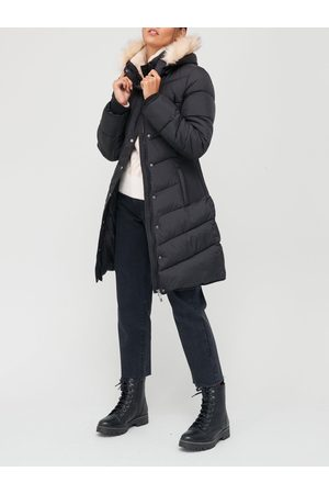 Very Waist Detail Padded Coat With Faux Fur
