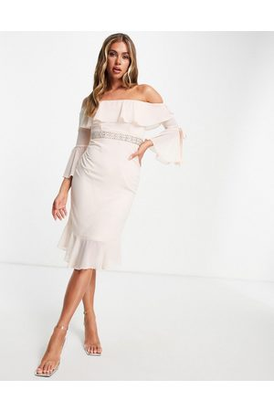 TFNC Bardot midi dress with embellishment and frill in soft