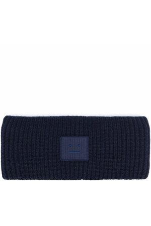 Acne Studios Hats - Face-patch ribbed knit headband