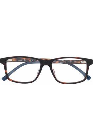 Lacoste Kids Tortoiseshell-effect rectangle-frame glasses