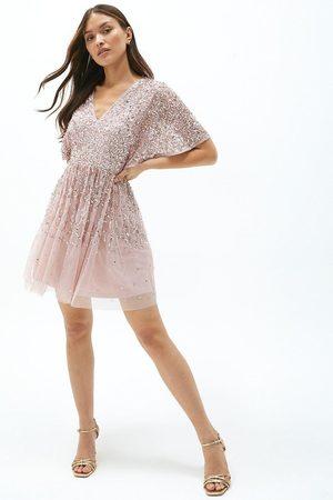 Coast Coast All Over Sequin Angel Sleeve Mini Dress