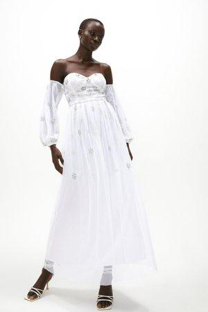 Coast Women Skirts - Coast Embellished Bardot Maxi Dress -, Ivory