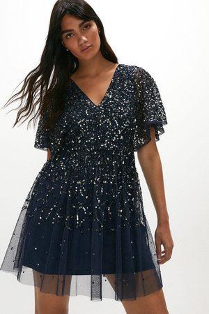 Coast Women Skirts - Coast All Over Sequin Angel Sleeve Mini Dress -, Navy