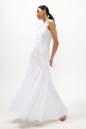 Coast Women Halterneck Dresses - Coast Halter Neck Hand Embellished Dress -, Ivory