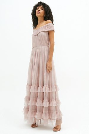 Coast Coast Bardot Tiered Tulle Maxi Dress