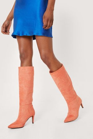 NASTY GAL Women High Leg Boots - Womens Faux Suede Knee High Stiletto Boots