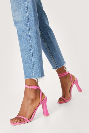 NASTY GAL Womens Faux Leather Toe Post Strappy Square Toe Heels
