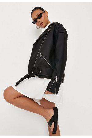 Missguided Women Leather Jackets - Faux Leather Belted Boyfriend Biker Jacket