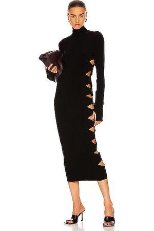Norma Kamali Long Sleeve Alligator Turtleneck Dress in