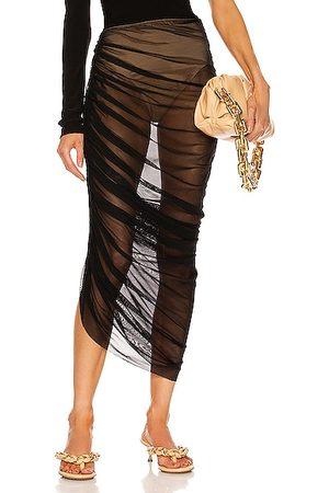 Norma Kamali Diana Long Skirt in Mesh & Nude