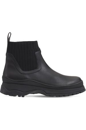 Staud Women Ankle Boots - 35mm Bow Leather & Knit Ankle Boots