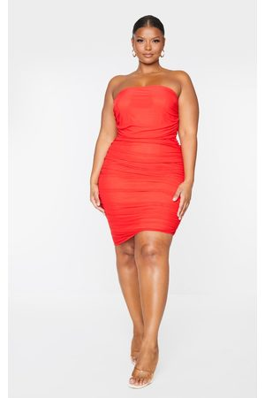 PRETTYLITTLETHING Plus Layered Mesh Ruched Strapless Bodycon Dress