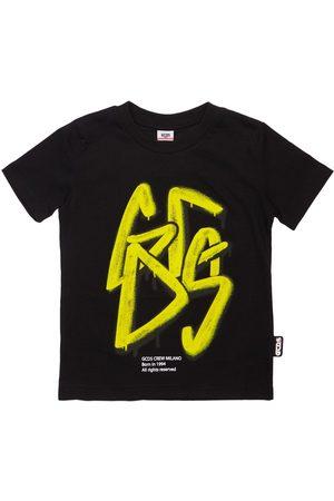 GCDS Boys T-shirts - Flocked Logo Cotton Jersey T-shirt