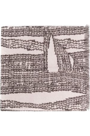 Acne Studios Scarves - Graphic-print wool-blend scarf - Neutrals
