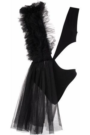 Alchemy Asymmetrical ruffle-trim bodysuit