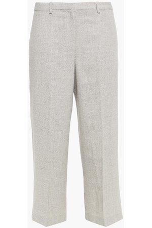 THEORY Women Wide Leg Trousers - Woman Cropped Wool-blend Wide-leg Pants Off- Size 0