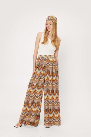 NASTY GAL Womens High Waisted Scarf Print Wide Leg trousers