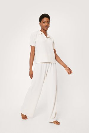 NASTY GAL Women Loungewear - Womens Brushed Ribbed T-Shirt and trousers Lounge Set