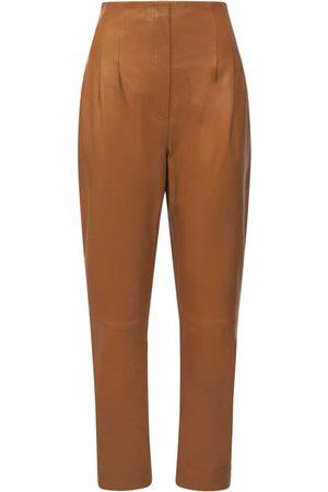 Alberta Ferretti High Waist Leather Pants