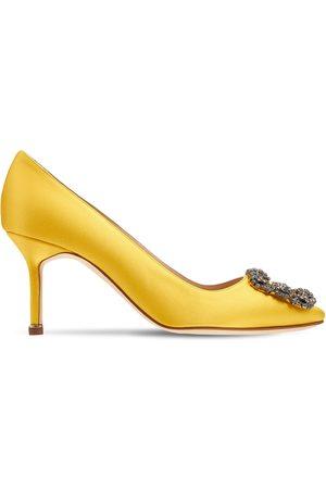 Manolo Blahnik Women Heels - 70mm Hangisi Satin Pumps