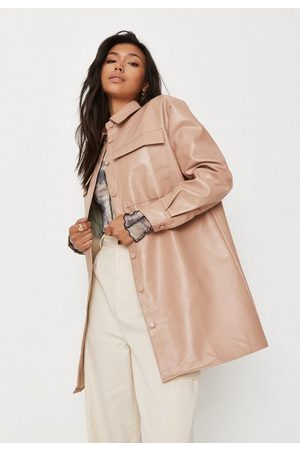 Missguided Tall Camel Faux Leather Shacket, Camel