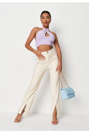 Missguided Cream Faux Leather Split Front Straight Leg Trousers, Cream