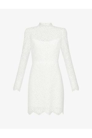 Jenny Yoo Women Casual Dresses - Hart high-neck stretch-lace mini dress
