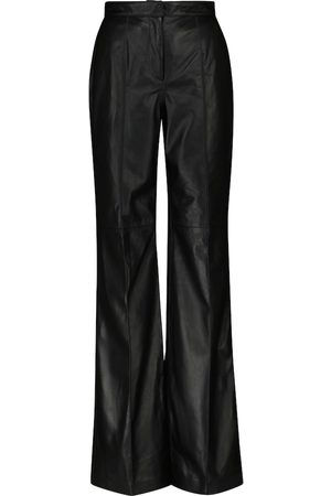 Costarellos Women Leather Trousers - Denie high-rise leather straight pants