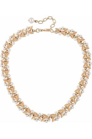 Susan Caplan Vintage Women Necklaces - 1950s leaf motif pearl-embellished necklace