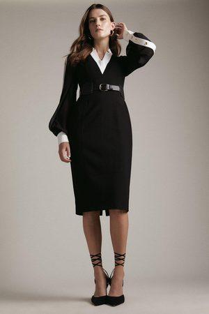 Karen Millen Karen Millen Forever Studded Sheer Sleeve Pencil Dress -, Blackwhite