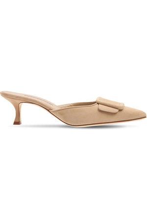 Manolo Blahnik Women Sandals - 50mm Maysale Suede Mules