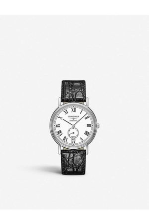 Longines Men Watches - L48054112 Presence stainless steel and leather watch