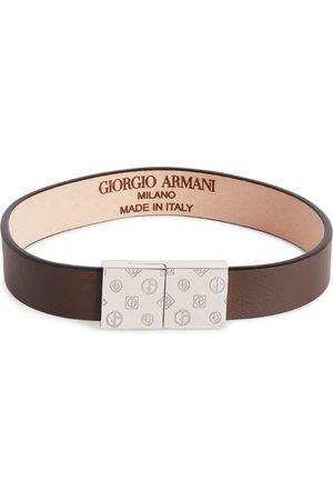 Armani Men Bracelets - Leather Embossed-Logo Bracelet