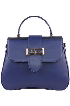 Luxe Designers Women Purses & Wallets - Flo & Sue Alba Navy/Black Leather Top Handle Bag