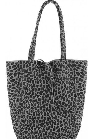 Sostter Grey Leopard Print Suede Leather Tote